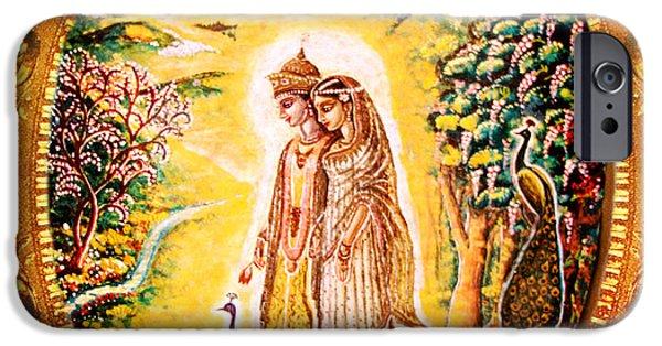 Hindu Goddess iPhone Cases - Miniature Rukmini-Krishna  iPhone Case by Ananda Vdovic