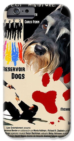 Reservoir Dogs iPhone Cases - Miniature Schnauzer Art Canvas Print - Reservoir Dogs Movie Poster iPhone Case by Sandra Sij