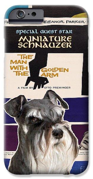 Miniature Schnauzer iPhone Cases - Miniature Schnauzer Art Canvas Print - The Man with the Golden Arm Movie Poster iPhone Case by Sandra Sij