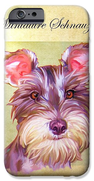 Cute Puppy Pictures Digital Art iPhone Cases - Miniature Schnauzer Portrait iPhone Case by Iain McDonald