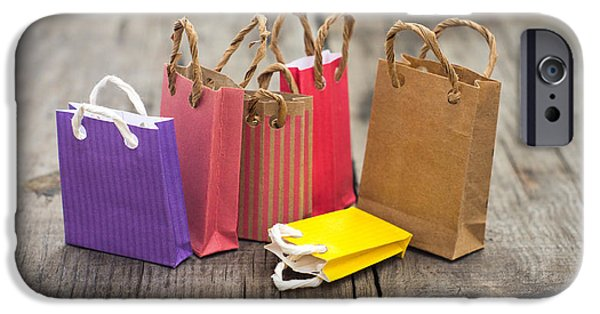 Container iPhone Cases - Miniature Shopping Bags iPhone Case by Aged Pixel