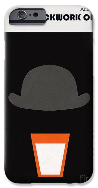 Clockwork iPhone Cases - Minimalist book cover Anthony Burgess Clockwork orange iPhone Case by Budi Kwan