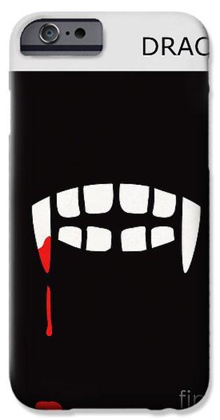 Book Cover Art iPhone Cases - Minimalist Book Cover Bram Stoker Dracula iPhone Case by Budi Satria Kwan