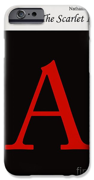 Book Cover Art iPhone Cases - Minimalist book cover the scarlet letter iPhone Case by Budi Satria Kwan