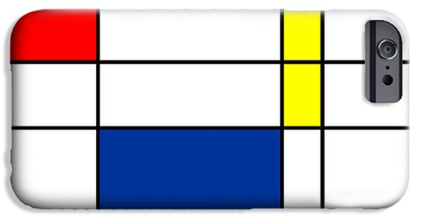 Modernism Mixed Media iPhone Cases - Minimalist Mondrian iPhone Case by Celestial Images