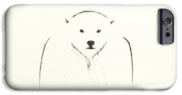 Winter Storm Drawings iPhone Cases - minimalist Polar Bear iPhone Case by Teresa Avellino