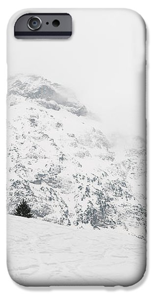 Minimalist snow landscape - mountain and trees in winter iPhone Case by Matthias Hauser