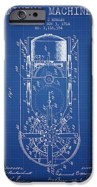Machinery iPhone Cases - Mining Machine Patent From 1914- Blueprint iPhone Case by Aged Pixel