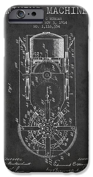 Machinery iPhone Cases - Mining Machine Patent From 1914- Charcoal iPhone Case by Aged Pixel