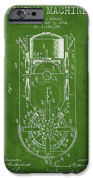 Machinery Digital iPhone Cases - Mining Machine Patent From 1914- Green iPhone Case by Aged Pixel