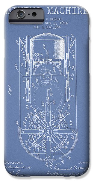 Machinery iPhone Cases - Mining Machine Patent From 1914- Light Blue iPhone Case by Aged Pixel