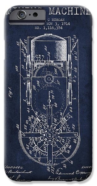 Machinery iPhone Cases - Mining Machine Patent From 1914- Navy Blue iPhone Case by Aged Pixel