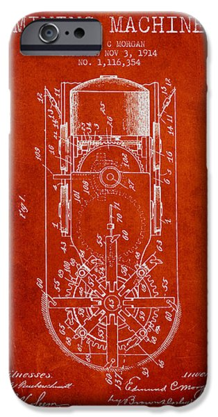 Recently Sold -  - Technical iPhone Cases - Mining Machine Patent From 1914- Red iPhone Case by Aged Pixel