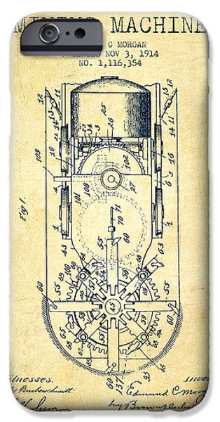 Machinery Digital iPhone Cases - Mining Machine Patent From 1914- Vintage iPhone Case by Aged Pixel