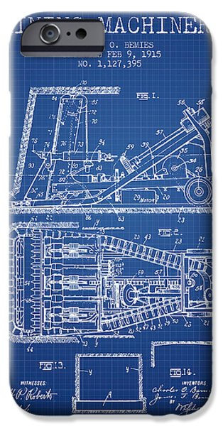 Machinery iPhone Cases - Mining Machinery Patent From 1915- Blueprint iPhone Case by Aged Pixel