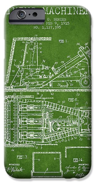 Machinery iPhone Cases - Mining Machinery Patent From 1915- Green iPhone Case by Aged Pixel