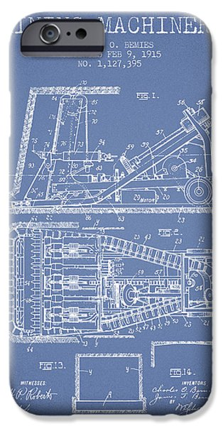 Machinery iPhone Cases - Mining Machinery Patent From 1915- Light Blue iPhone Case by Aged Pixel