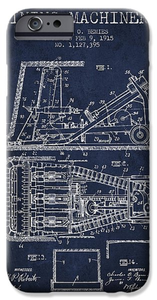Coal iPhone Cases - Mining Machinery Patent From 1915- Navy Blue iPhone Case by Aged Pixel