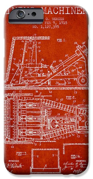 Machinery iPhone Cases - Mining Machinery Patent From 1915- Red iPhone Case by Aged Pixel