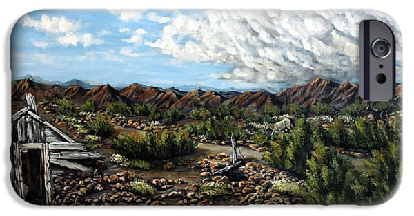 Pinion Paintings iPhone Cases - Mining Nevada iPhone Case by Julie Townsend