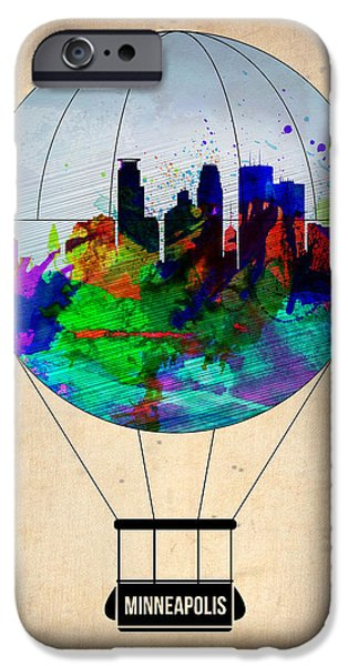 Towns Digital Art iPhone Cases - Minneapolis Air Balloon iPhone Case by Naxart Studio