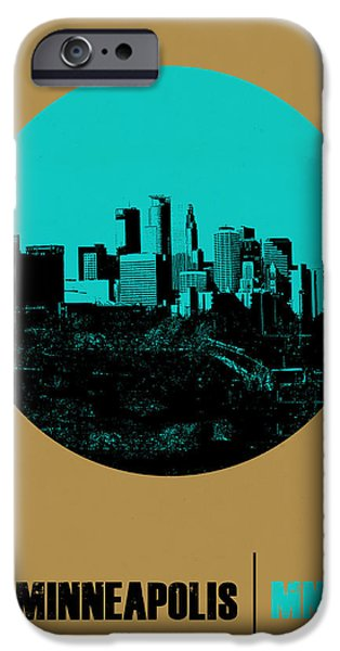 Minnesota iPhone Cases - Minneapolis Circle Poster 1 iPhone Case by Naxart Studio