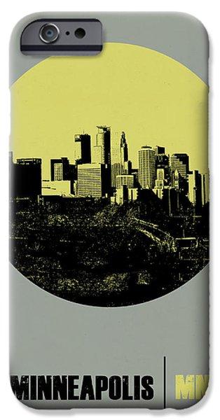 Minnesota Digital iPhone Cases - Minneapolis Circle Poster 2 iPhone Case by Naxart Studio