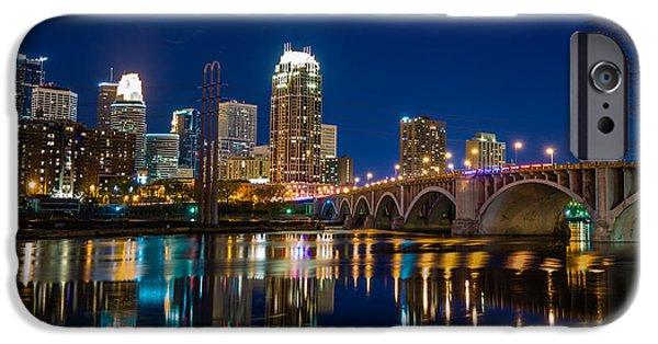 Minnesota iPhone Cases - MInneapolis City Lights iPhone Case by Mark Goodman