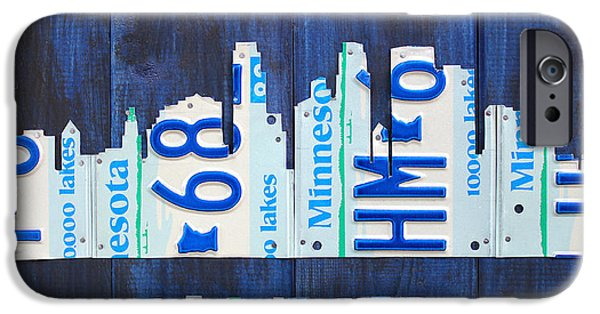 Minnesota Mixed Media iPhone Cases - Minneapolis Minnesota City Skyline License Plate Art The Twin Cities iPhone Case by Design Turnpike