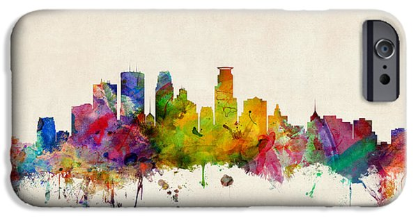 States Digital iPhone Cases - Minneapolis Minnesota Skyline iPhone Case by Michael Tompsett