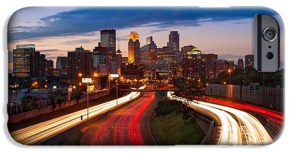 Minneapolis iPhone Cases - Minneapolis  M N Skyline iPhone Case by Steve Gadomski