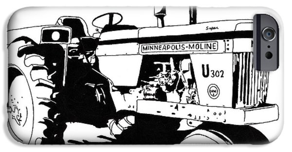 Crops Drawings iPhone Cases - Minneapolis Moline U302 iPhone Case by David Fuller