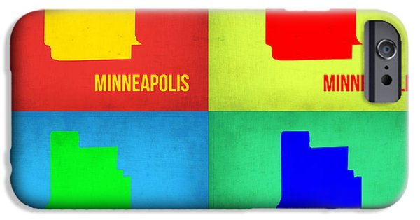 Minneapolis iPhone Cases - Minneapolis Pop Art Map 1 iPhone Case by Naxart Studio