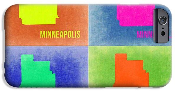 Minneapolis iPhone Cases - Minneapolis Pop Art Map 2 iPhone Case by Naxart Studio