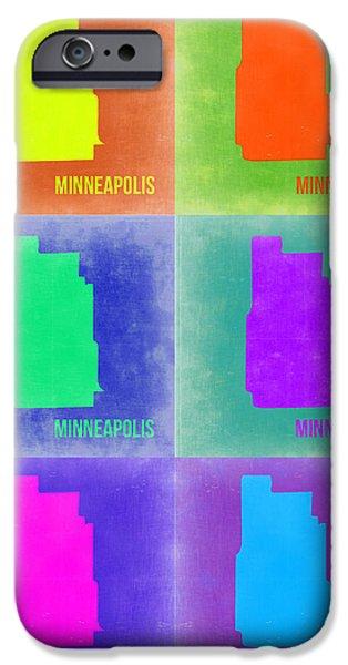Minneapolis iPhone Cases - Minneapolis Pop Art Map 3 iPhone Case by Naxart Studio