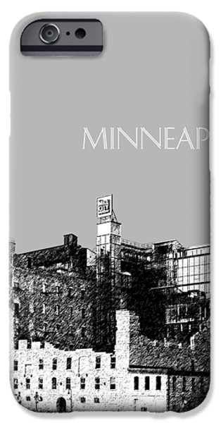 Pen And Ink iPhone Cases - Minneapolis Skyline Mill City Museum - Silver iPhone Case by DB Artist