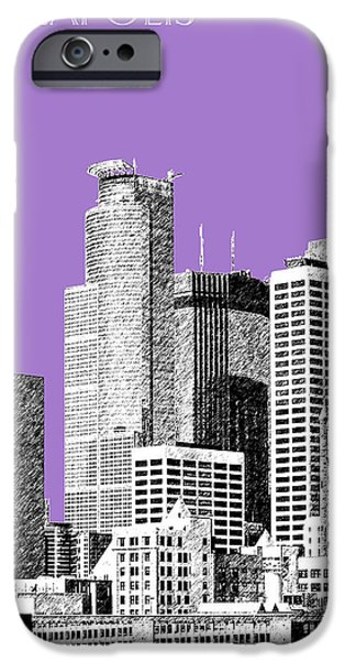 Minnesota iPhone Cases - Minneapolis Skyline - Violet  iPhone Case by DB Artist