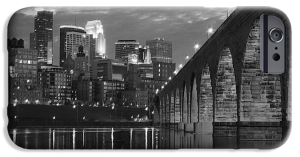 Minnesota iPhone Cases - Minneapolis Stone Arch Bridge BW iPhone Case by Wayne Moran