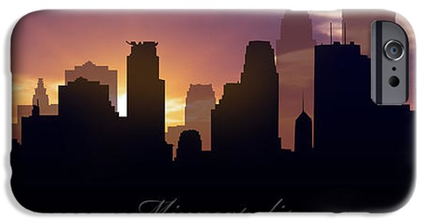 Minnesota Digital iPhone Cases - Minneapolis Sunset iPhone Case by Aged Pixel