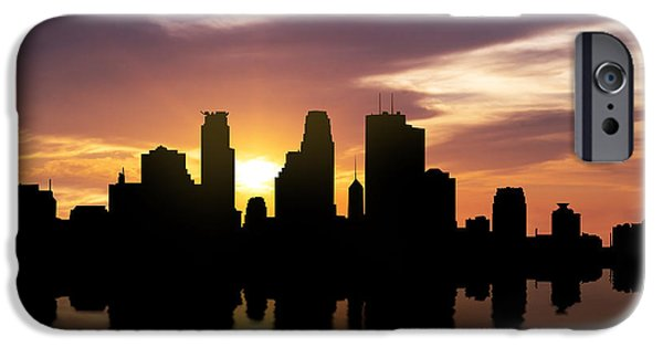 Downtown Mixed Media iPhone Cases - Minneapolis Sunset Skyline  iPhone Case by Aged Pixel