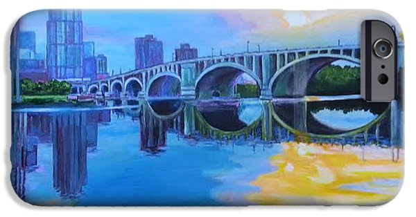 Minnesota Pastels iPhone Cases - Minneapolis View In August iPhone Case by Carol OMalley