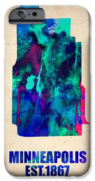 Maps Paintings iPhone Cases - Minneapolis Watercolor Map iPhone Case by Naxart Studio