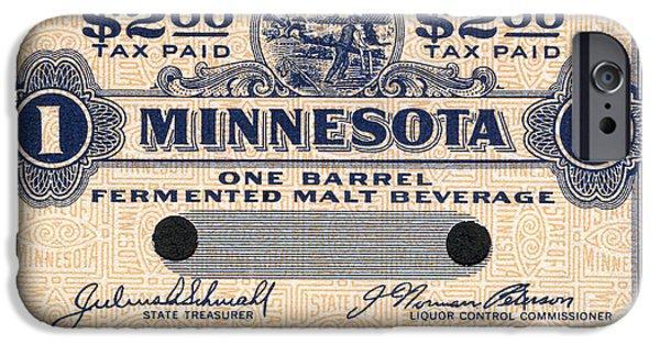 Minnesota Photographs iPhone Cases - Minnesota Beer Tax Stamp iPhone Case by Jon Neidert