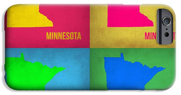 Minnesota Digital iPhone Cases - Minnesota Pop Art Map 1  iPhone Case by Naxart Studio