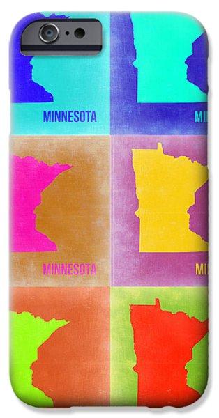 Minnesota Digital iPhone Cases - Minnesota Pop Art Map 2 iPhone Case by Naxart Studio