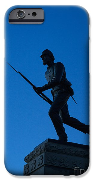 Statue Of Confederate Soldier iPhone Cases - Minnesota Soldier Monument at Gettysburg iPhone Case by John Greim