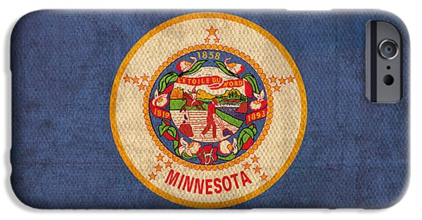 Minnesota Mixed Media iPhone Cases - Minnesota State Flag Art on Worn Canvas iPhone Case by Design Turnpike