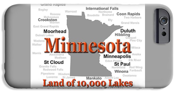 Alexandria iPhone Cases - Minnesota State Pride Map Silhouette  iPhone Case by Keith Webber Jr