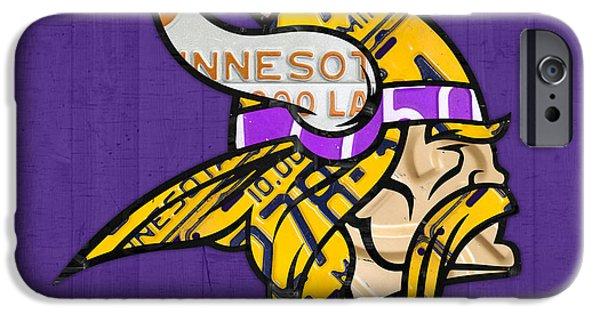 Minnesota iPhone Cases - Minnesota Vikings Football Team Retro Logo Minnesota License Plate Art iPhone Case by Design Turnpike