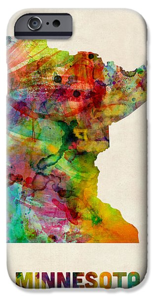 Us Map iPhone Cases - Minnesota Watercolor Map iPhone Case by Michael Tompsett